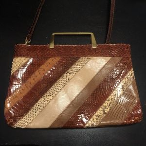 60s Genuine Snake Python Skin Patchwork LISA Bag